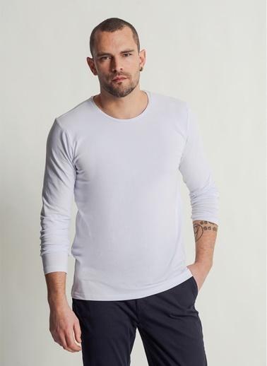 People By Fabrika Likralı Uzun Kol Tişört Beyaz
